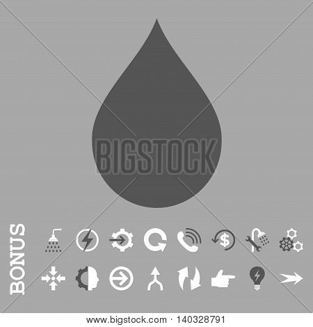 Drop vector bicolor icon. Image style is a flat pictogram symbol, dark gray and white colors, silver background.