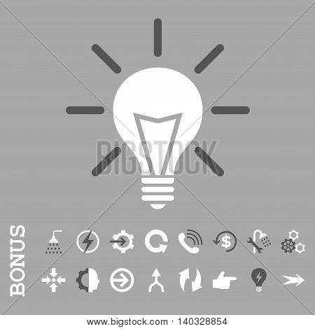 Electric Light vector bicolor icon. Image style is a flat iconic symbol, dark gray and white colors, silver background.