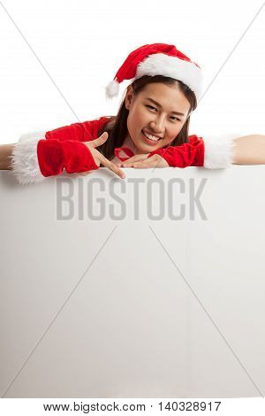 Asian Christmas Santa Claus Girl  Point Down To Blank Sign.