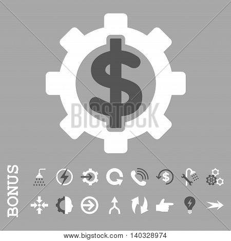 Financial Options vector bicolor icon. Image style is a flat pictogram symbol, dark gray and white colors, silver background.