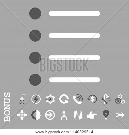 Items vector bicolor icon. Image style is a flat iconic symbol, dark gray and white colors, silver background.