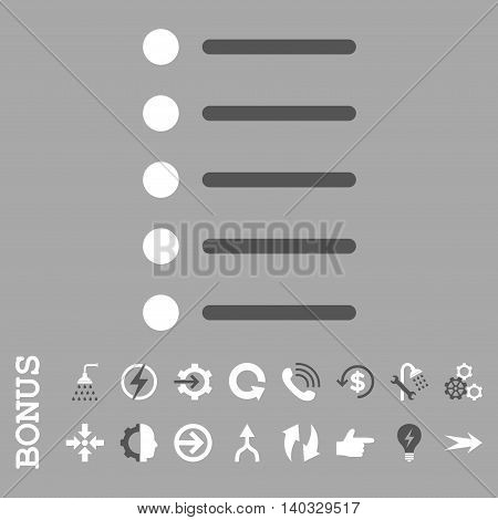 Items vector bicolor icon. Image style is a flat pictogram symbol, dark gray and white colors, silver background.