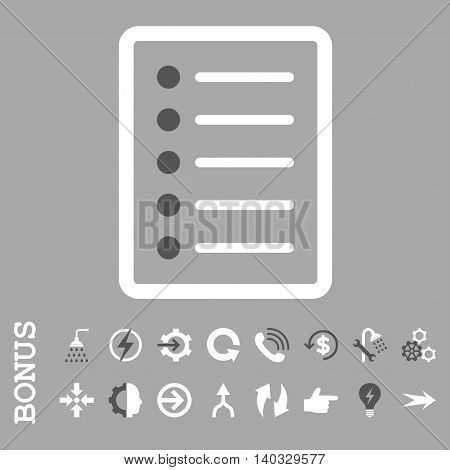 List Page vector bicolor icon. Image style is a flat iconic symbol, dark gray and white colors, silver background.