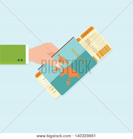 Boarding Pass and Passport in hands on background business travel concept flat design vector illustration