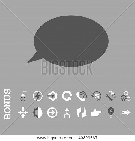 Message Cloud vector bicolor icon. Image style is a flat pictogram symbol, dark gray and white colors, silver background.