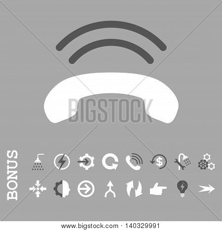 Phone Ring vector bicolor icon. Image style is a flat pictogram symbol, dark gray and white colors, silver background.