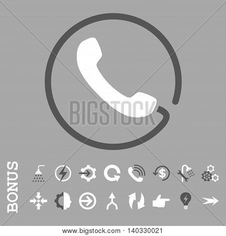 Phone vector bicolor icon. Image style is a flat pictogram symbol, dark gray and white colors, silver background.