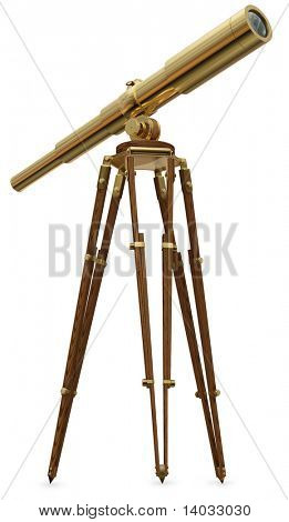 A real photo graph of a vintage brass telescope on a white background