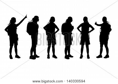 silhouette of sport woman set with white background