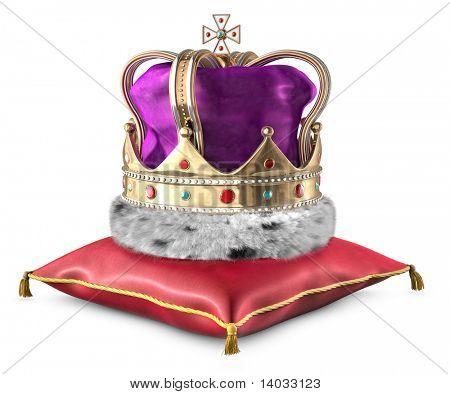 Reyes Corona sobre una almohada sobre un fondo blanco