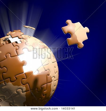 Stock Photo showing the Jigsaw pieces moving to position.