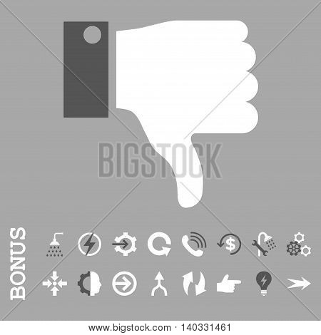 Thumb Down vector bicolor icon. Image style is a flat iconic symbol, dark gray and white colors, silver background.