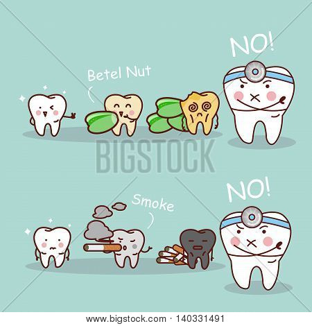 cartoon tooth and dentist black or yellow tooth with betel nut and smoke
