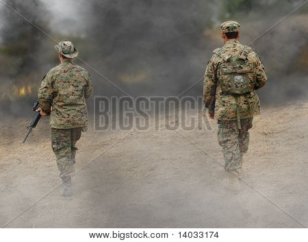 Two US Marines on the battlefield