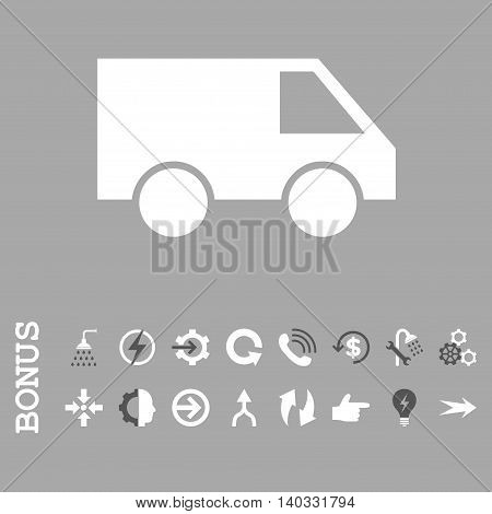 Van vector bicolor icon. Image style is a flat iconic symbol, dark gray and white colors, silver background.