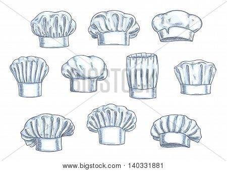 Chef toques, caps and hats. Different shapes and forms. Pencil sketch icons for restaurant, bakery, kitchen design