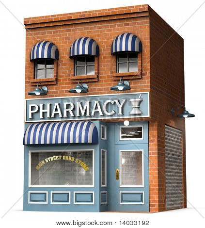 Stylized version of an iconic American drug store isolated on a white background with clipping path