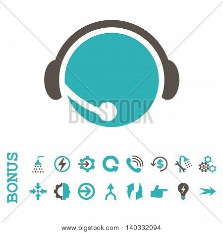 Call Center Operator vector bicolor icon. Image style is a flat iconic symbol, grey and cyan colors, white background.