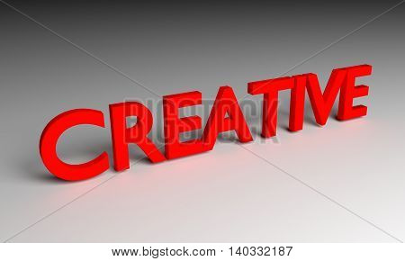 Creative Word On Grey Background 3D Rendering