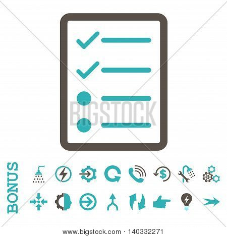 Checklist Page vector bicolor icon. Image style is a flat pictogram symbol, grey and cyan colors, white background.