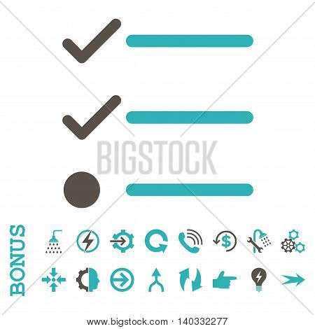 Checklist vector bicolor icon. Image style is a flat pictogram symbol, grey and cyan colors, white background.