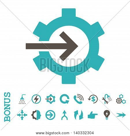 Cog Integration vector bicolor icon. Image style is a flat iconic symbol, grey and cyan colors, white background.
