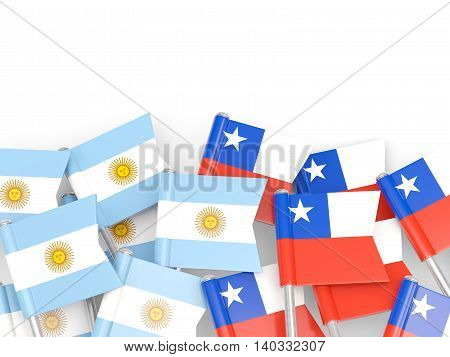 Flags Of Argentina And Chile Isolated On White