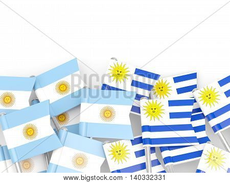 Flags Of Argentina And Uruguay Isolated On White