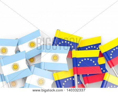 Flags Of Argentina And Venezuela Isolated On White