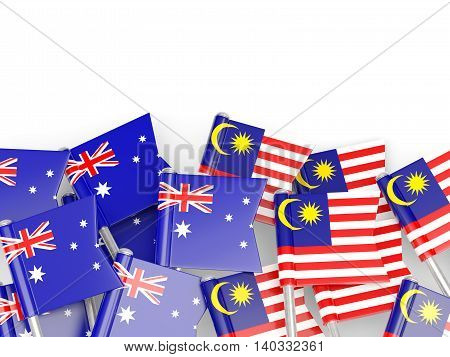Flags Of Australia And Malaysia Isolated On White