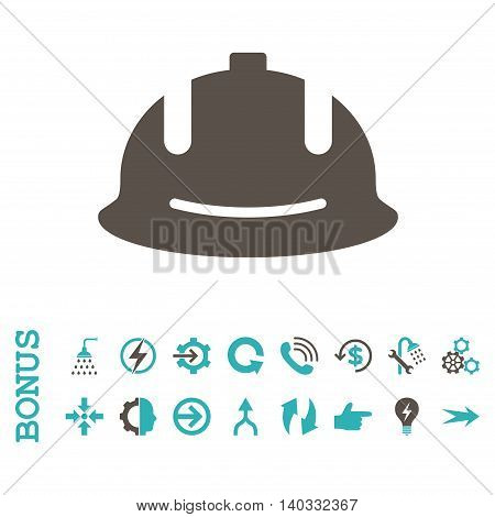Construction Helmet vector bicolor icon. Image style is a flat pictogram symbol, grey and cyan colors, white background.