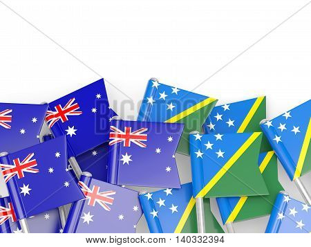 Flags Of Australia And Solomon Islands Isolated On White
