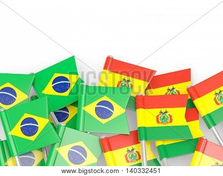 Flags Of Brazil And Bolivia Isolated On White