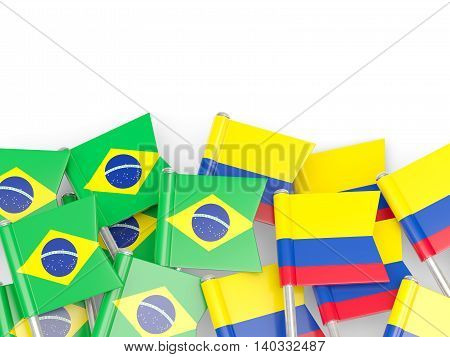 Flags Of Brazil And Colombia Isolated On White