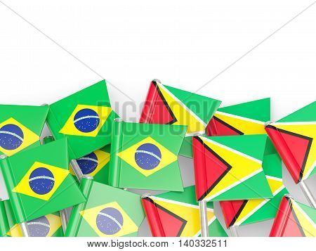 Flags Of Brazil And Guyana Isolated On White
