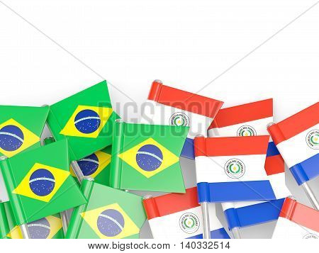 Flags Of Brazil And Paraguay Isolated On White