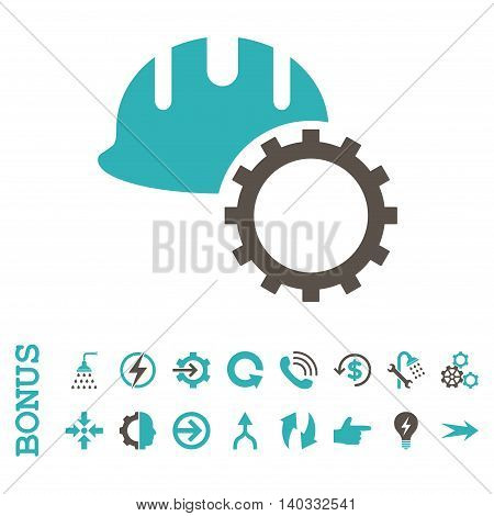 Development Hardhat vector bicolor icon. Image style is a flat iconic symbol, grey and cyan colors, white background.