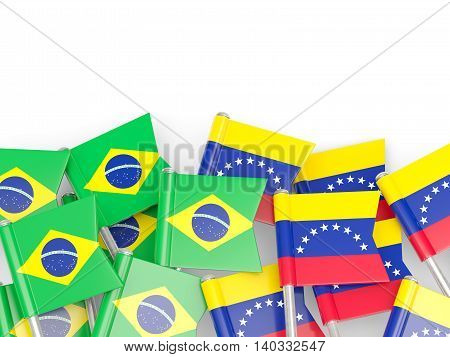 Flags Of Brazil And Venezuela Isolated On White