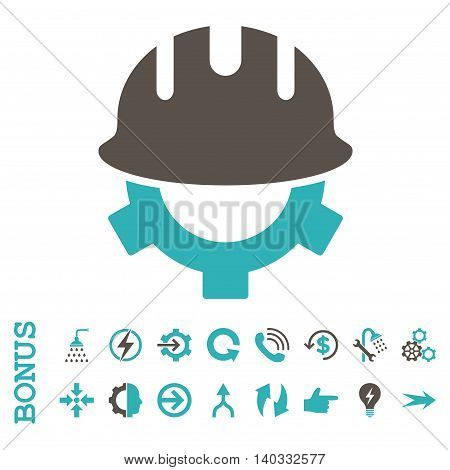 Development Helmet vector bicolor icon. Image style is a flat iconic symbol, grey and cyan colors, white background.