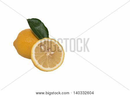 lemon cut half to put on a white background