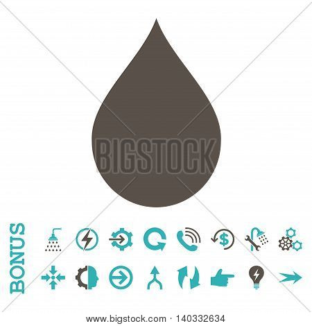 Drop vector bicolor icon. Image style is a flat pictogram symbol, grey and cyan colors, white background.