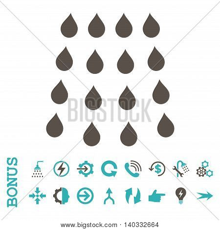 Drops vector bicolor icon. Image style is a flat iconic symbol, grey and cyan colors, white background.