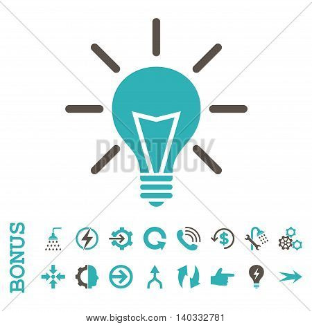 Electric Light vector bicolor icon. Image style is a flat pictogram symbol, grey and cyan colors, white background.