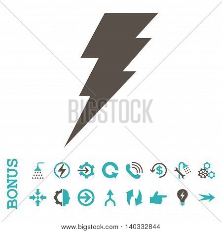 Execute vector bicolor icon. Image style is a flat pictogram symbol, grey and cyan colors, white background.