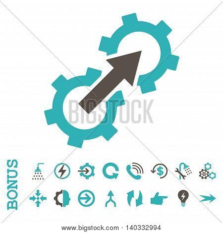 Gear Integration vector bicolor icon. Image style is a flat iconic symbol, grey and cyan colors, white background.