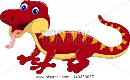 red gecko cartoon posing for you design