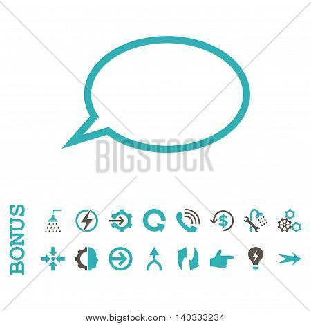 Hint Cloud vector bicolor icon. Image style is a flat pictogram symbol, grey and cyan colors, white background.