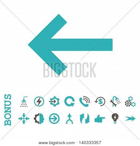 Left Arrow vector bicolor icon. Image style is a flat pictogram symbol, grey and cyan colors, white background.
