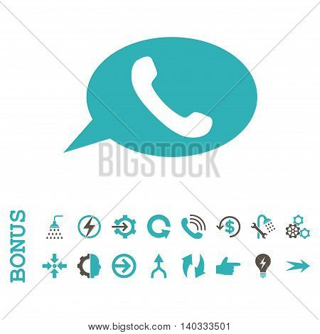 Phone Message vector bicolor icon. Image style is a flat iconic symbol, grey and cyan colors, white background.