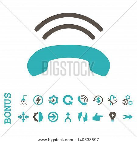 Phone Ring vector bicolor icon. Image style is a flat iconic symbol, grey and cyan colors, white background.